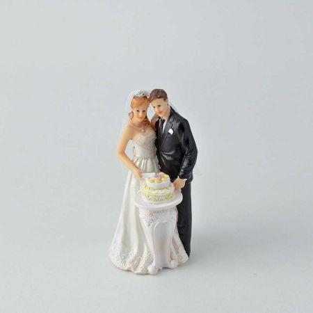 Νυφικό ζευγάρι γαμπρός - νύφη - κορυφή για γαμήλια τούρτα, 7x6x13cm