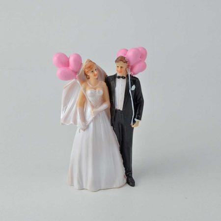 Κορυφή για γαμήλια τούρτα, νυφικό ζευγάρι γαμπρός - νύφη με μπαλόνια 14cm