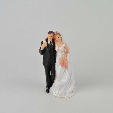 Νυφικό ζευγάρι γαμπρός - νύφη - κορυφή για γαμήλια τούρτα, 8x6x13cm