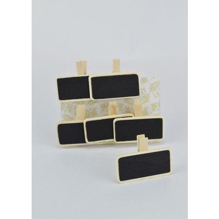 Σετ 6τμτχ. Διακοσμητικά μαυροπινακάκια με μανταλάκι 5x2.5cm