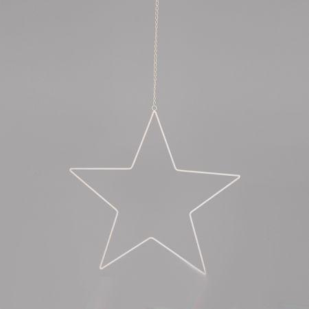 Μεταλλικό κρεμαστό αστέρι με αλυσίδα Λευκό 50cm