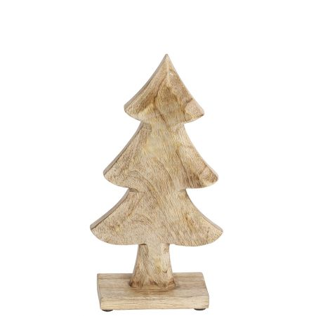 Διακοσμητικό επιτραπέζιο ξύλινο δεντράκι Φυσικό ξύλο 29cm