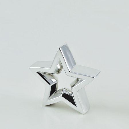 Διακοσμητικό επιτραπέζιο αστέρι Ασημί 16x15x4cm