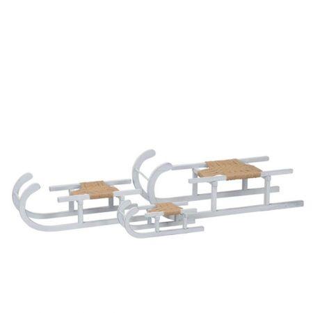 Ξύλινο έλκηθρο Λευκό με σχοινί 28x11x11cm