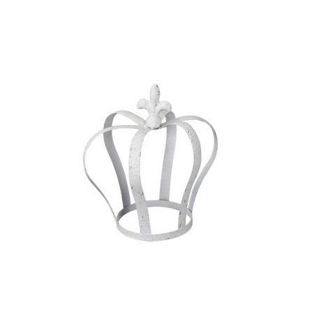 Μεταλλικό στέμμα - κορόνα Λευκό 22x23cm