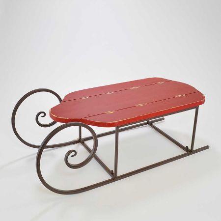 Διακοσμητικό έλκηθρο μεταλλικό με ξύλινο κάθισμα Κόκκινο 70x30x25cm