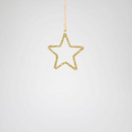 Μεταλλικό στολίδι αστέρι Σαμπανί 10cm