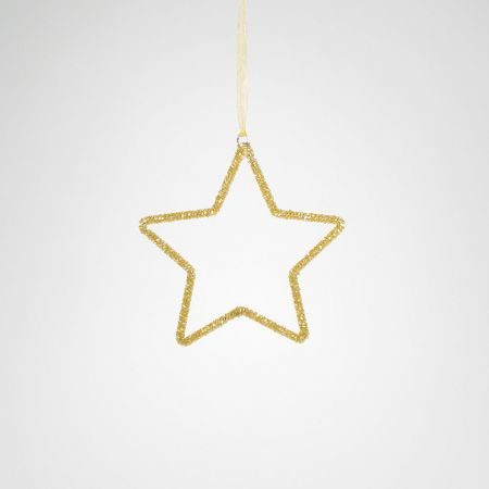 Μεταλλικό στολίδι αστέρι Σαμπανί 15cm