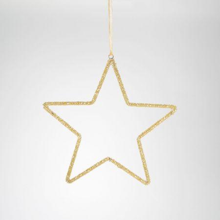 Μεταλλικό στολίδι αστέρι Σαμπανί 25cm