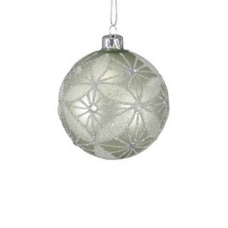 Χριστουγεννιάτικη μπάλα γυάλινη Πράσινη με glitter 8cm