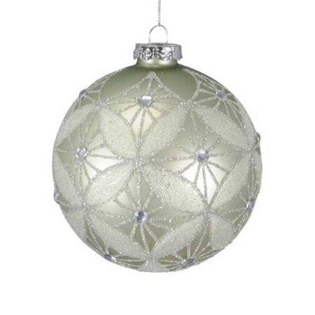 Χριστουγεννιάτικη μπάλα γυάλινη Πράσινη με glitter 10cm