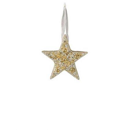 Κρεμαστό στολίδι αστέρι με χάντρες Χρυσό - Ασημί 10cm