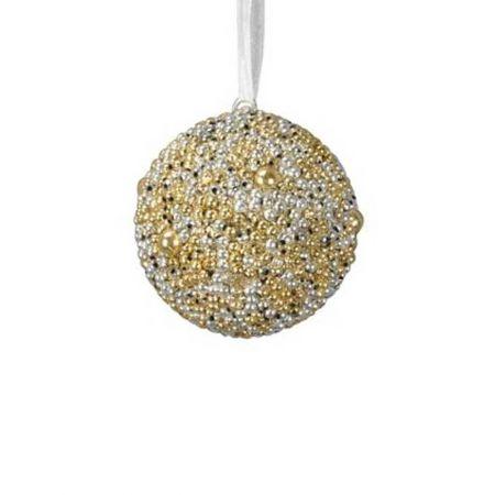 Κρεμαστή μπάλα δέντρου με χάντρες Χρυσό - Ασημί 16cm