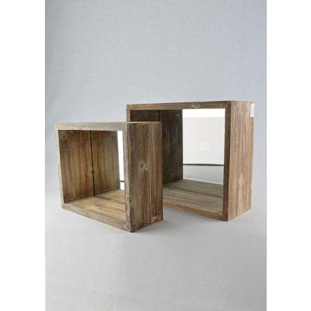 Σετ 2τμχ. Διακοσμητικοί Κύβοι - Σταντ Βιτρίνας με Καθρέπτη 25.5x12x30cm - 30x14.5x36.5cm