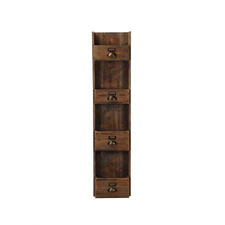 Διακοσμητικό Σταντ - Ραφιέρα Ξύλινη - 4 Ράφια 30x14x132cm