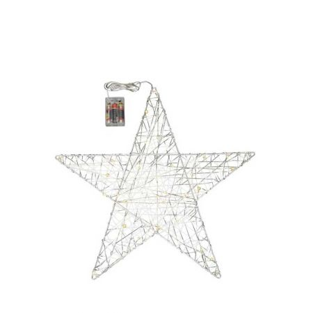 Φωτιζόμενο αστέρι 30microLED μπαταρίας με χρονοδιακόπτη Ασημί / Θερμό Λευκό 50cm