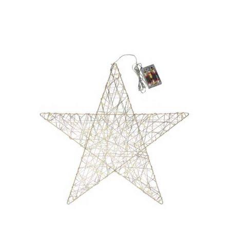 Φωτιζόμενο αστέρι 30microLED μπαταρίας με χρονοδιακόπτη Σαμπανί / Θερμό Λευκό 50cm