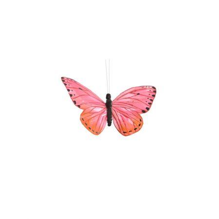Διακοσμητική πεταλούδα με κλιπ Ροζ 15cm