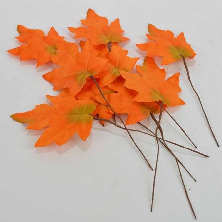 Σετ 6 τεμ με Φθινοπωρινά φύλλα Πορτοκαλί 9x11cm