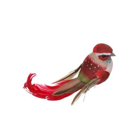Διακοσμητικό Ανοιξιάτικο πουλάκι με μακριά φτερά και ουρά, Κόκκινο 15cm