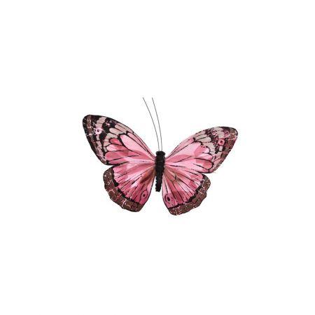 Διακοσμητική πεταλούδα με κλιπ Ροζ 17cm