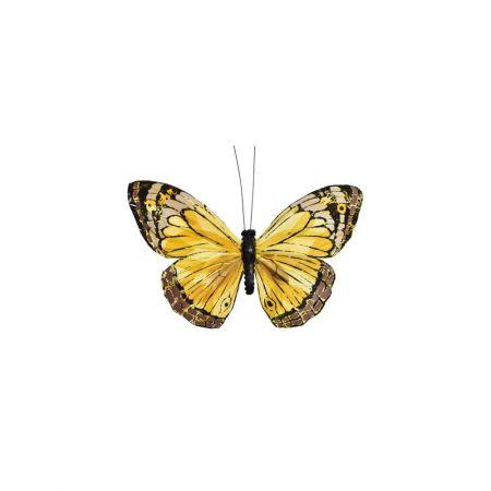 Διακοσμητική πεταλούδα με κλιπ Κίτρινη 17cm