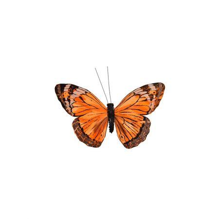 Διακοσμητική πεταλούδα με κλιπ Πορτοκαλί 17cm