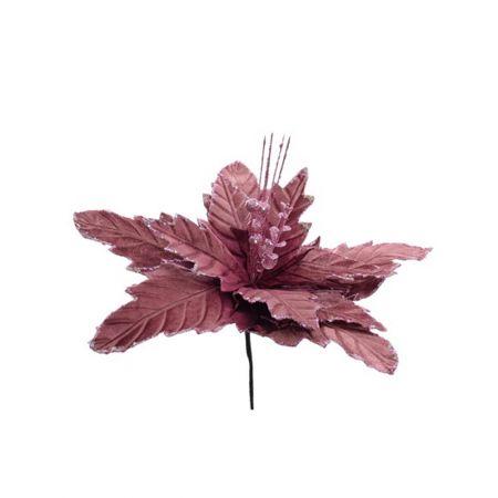 Χριστουγεννιάτικο Αλεξανδρινό λουλούδι deluxe Ροζ 32cm