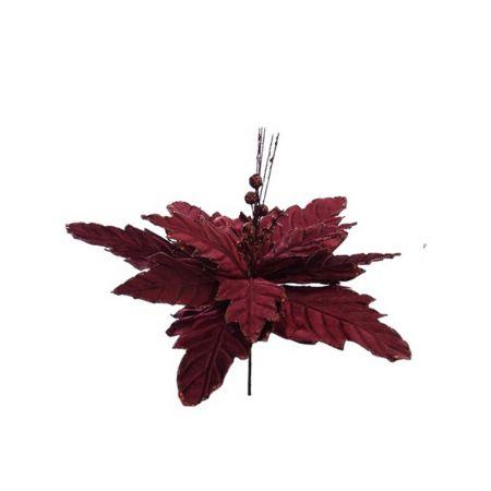 Χριστουγεννιάτικο Αλεξανδρινό λουλούδι deluxe Μπορντό 32cm