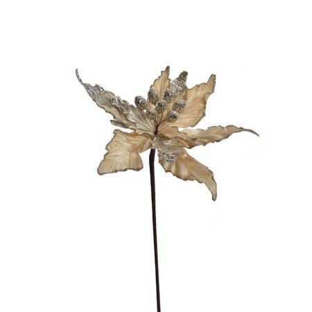 Χριστουγεννιάτικο Αλεξανδρινό λουλούδι Χρυσό με glitter 50cm