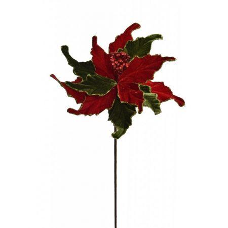 Χριστουγεννιάτικο Αλεξανδρινό λουλούδι Κόκκινο - Πράσινο 55cm