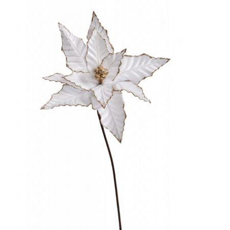 Χριστουγεννιάτικο Αλεξανδρινό λουλούδι Λευκό 65cm