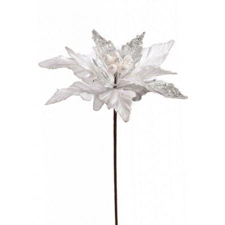Χριστουγεννιάτικο Αλεξανδρινό λουλούδι Λευκό με glitter 50cm