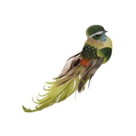 Διακοσμητικό Ανοιξιάτικο πουλάκι με μακριά φτερά και ουρά, Πράσινο 15cm