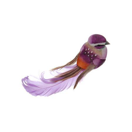 Διακοσμητικό Ανοιξιάτικο πουλάκι με μακριά φτερά και ουρά, Μωβ 15cm