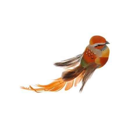 Διακοσμητικό Ανοιξιάτικο πουλάκι με μακριά φτερά και ουρά, Πορτοκαλί 15cm