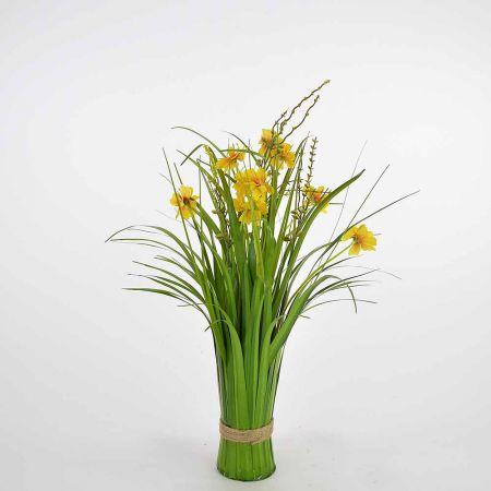 Διακοσμητική δέσμη γρασίδι Πράσινη με κίτρινα άνθη 48cm