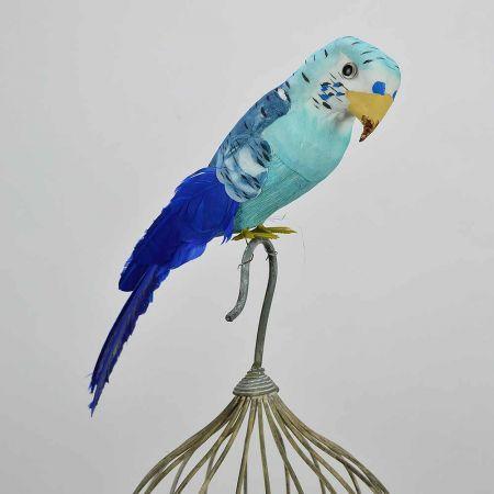 Διακοσμητικό παπαγαλάκι Parakeet Mπλε 32cm