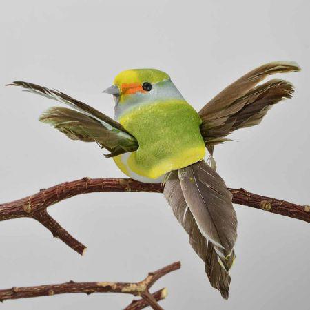 Διακοσμητικό Ανοιξιάτικο πουλάκι με ανοιγμένα φτερά με κλιπ Πράσινο 9cm