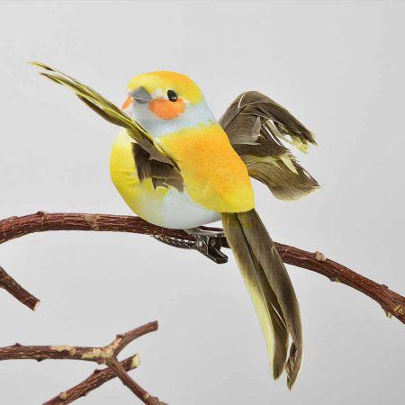 Διακοσμητικό Ανοιξιάτικο πουλάκι με ανοιγμένα φτερά με κλιπ Κίτρινο 9cm