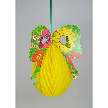 Διακοσμητικό Πασχαλινό αυγό κίτρινο με πολύχρωμο φιόγκο 65x51cm