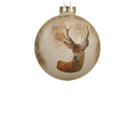 Χριστουγεννιάτικη μπάλα γυάλινη με ελάφι Μπεζ 8cm