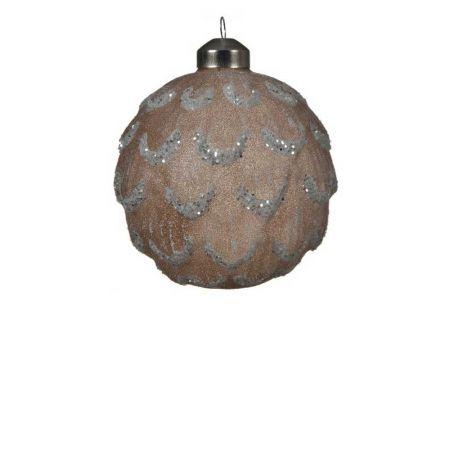 Χριστουγεννιάτικη μπάλα γυάλινη ανάγλυφη καφέ με glitter 10cm