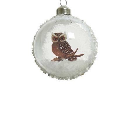 Χριστουγεννιάτικη μπάλα γυάλινη Διάφανη με κουκουβάγια 8cm
