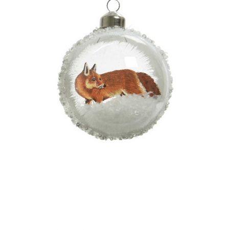 Χριστουγεννιάτικη μπάλα γυάλινη Διάφανη με αλεπού 8cm