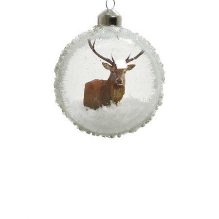 Χριστουγεννιάτικη μπάλα γυάλινη Διάφανη με τάρανδο 8cm