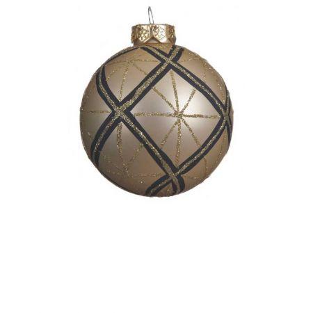 Χριστουγεννιάτικη μπάλα γυάλινη Χρυσή Καρό 8cm