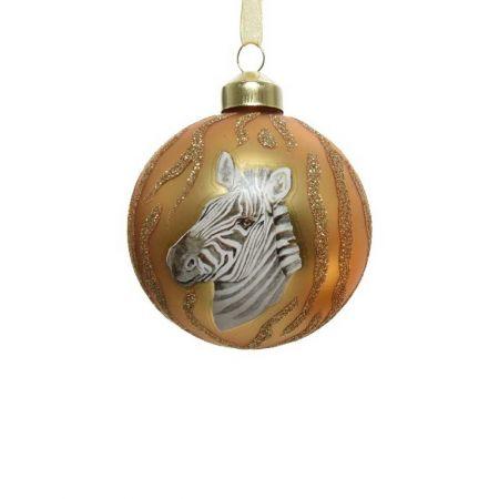 Χριστουγεννιάτικη μπάλα γυάλινη με ζέβρα Χρυσή 8cm