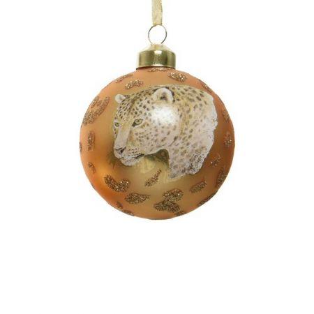 Χριστουγεννιάτικη μπάλα γυάλινη με Τίγρη Χρυσή 8cm