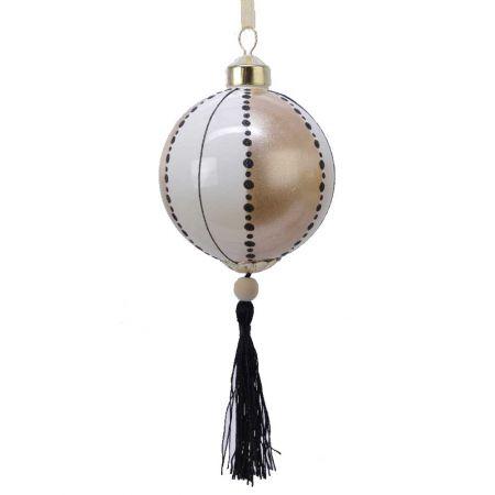 Χριστουγεννιάτικη μπάλα γυάλινη με φουντίτσα Λευκή - Σαμπανί 8cm